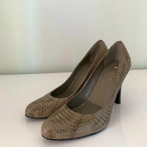 RALPH LAUREN Leather Reptile Print Heels
